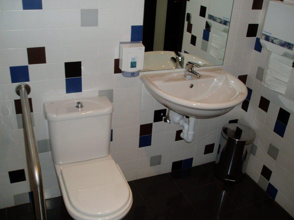 Inodoro con barra fija a un lado y lavabo al otro, lo que hace imposible el uso a personas usuarias de silla de ruedas.