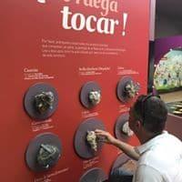 "Panel que indica ""Se ruega tocar"" con diferentes tipos de piedra"