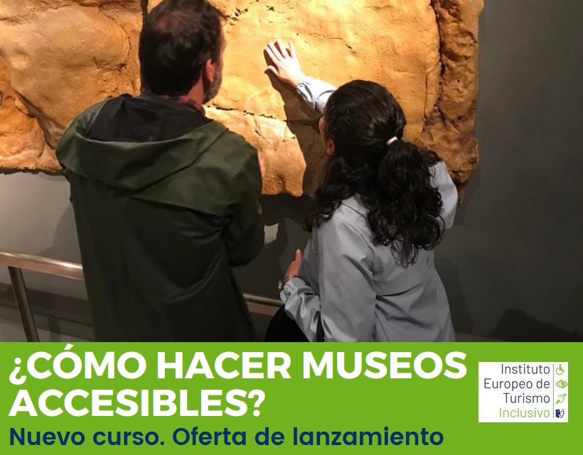 persona ciega toca un mural. Texto: ¿Cómo hacer museos accesibles? Nuevo curso oferta de lanzamiento