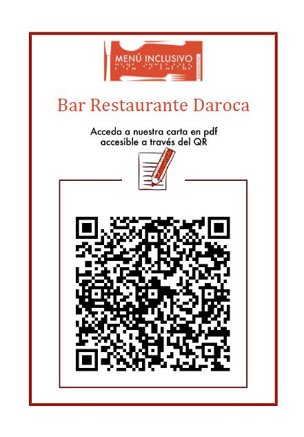 Codigo QR que enlace con el menú del Bar Restaurante Daroca en versión PDF accesible