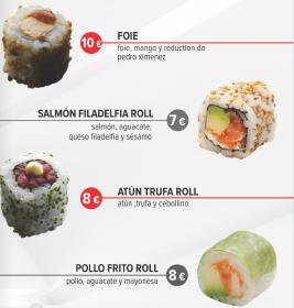 Carta de restaurante Japonés. Se ven 4 rollitos de sushi. Al lado de cada imagen descripción del producto y precio